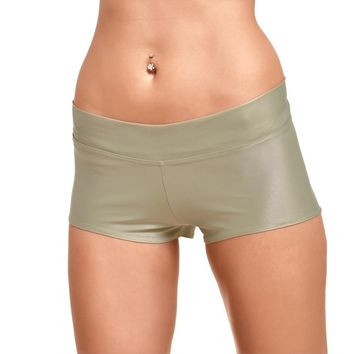 JIGERJOGER 2016 Gold Metallic Shorts for women Yoga Sporty Running short fitness outfits Glossy Wet Look Shiny bottom wear