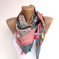 lightweight pink green polka dot floral scarf , gifts for her , womens fashion scarves