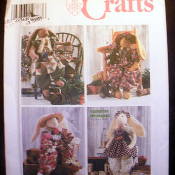 """Stuffed Toy RABBITS & CLOTHES 24"""" Four Outfits Simplicity 7459 Sewing Pattern Uncut"""