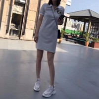 """Gucci"" Women Casual Fashion Stripe Lapel Sequin Cat Head Short Sleeve Polo Shirt Dress"