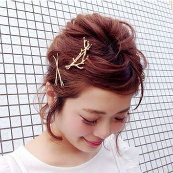 2pcs Girls Women Fashion Metal Branch Leaves Flower Barrette Party Hairpin Bobby Pin Hair Clip Headwear Hair Accessories Hot