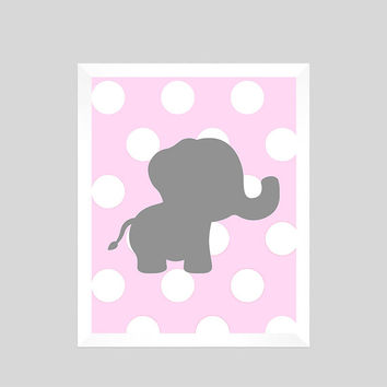 Gray Elephant on Pink Dots Print CUSTOM COLORS custom nursery decor art baby room baby girl safari animals decor print digital download 8x10