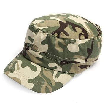 ICIKHN1 2014 Fashion Summer Kids Girls Boys Camo Camouflage Military Army Cadet Hat Flat Bill Sun Cap 2 Colors