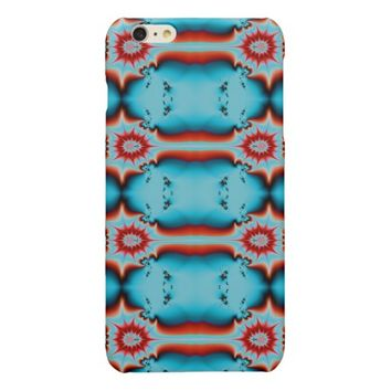 Turquoise Red Fractal Abstract Glossy iPhone 6 Plus Case