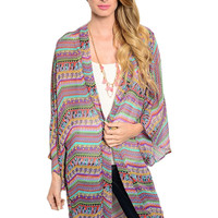 3/4 Sleeve Abstract Print Hi-Low Kimono Cardigan