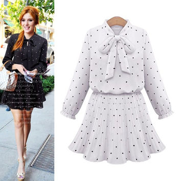 Long Sleeve Chiffon Dress Women's Fashion One Piece Dress [9371064007]