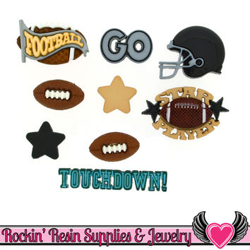 Jesse James Buttons 9pc FOOTBALL Buttons and Flatback Cabochon Embellishment