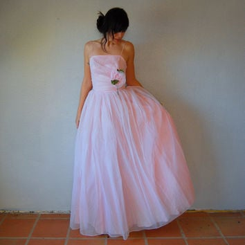50s cupcake pink / layered chiffon tulle skirt  / evening prom party wedding dress