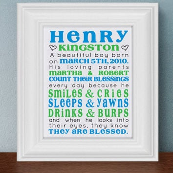 Personalized Children Birth Announcement by TheStationerySisters