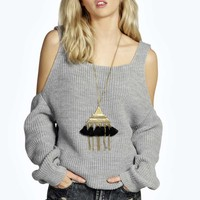 Lana Tab Top Open Shoulder Fisherman Jumper