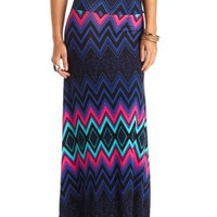 Abstract Chevron Print Maxi Skirt by Charlotte Russe - Multi