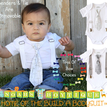 Baptism Outfits for Boys - Baby Boy Baptism Outfit - Cross Tie - Silver - White - Grey - Christening - Dedication - Baptism Suit - Newborn