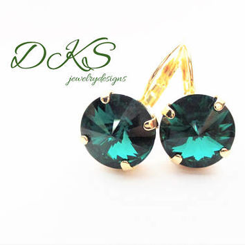 Emerald, Swarovski 12mm Lever Back Earrings,Bridal, Solitare, Green, Gold Setting, St Patricks Day, DKSJewelrydesigns, FREE SHIPPING