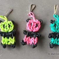 Rainbow Loom Panda Charm - Zipper Pull - Charm - Bear Charm - Bands - Rubber Band - Rainbow Loom - Charm- Panda Bear