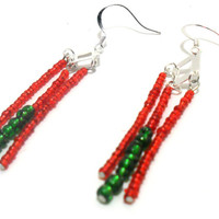 Red and Green Earrings , Dangle Earrings , Seed Bead Earrings , Fashion Jewelry , Christmas Jewelry , Christmas Earrings , Beaded Earrings