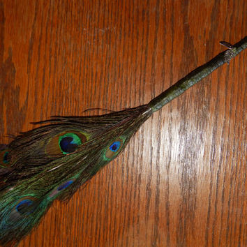 Feather Besom Broom or Smudge Wand - Peacock Feathers w/ Tibetan Silver Leaf Charms & Genuine Peridot - Wiccan Besom - Feather Wand
