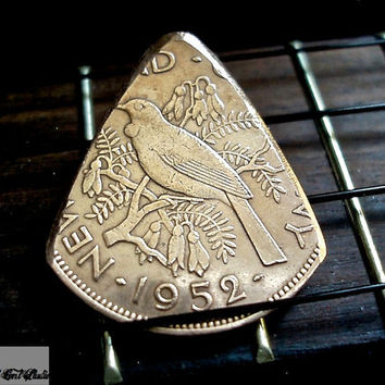 Coin Guitar Pick -- 1952 New Zealand Penny Plectrum