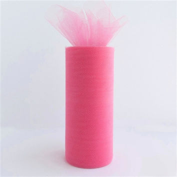 Tulle Spool Fabric Net Roll, 6-inch, 25-yard, Hot Pink