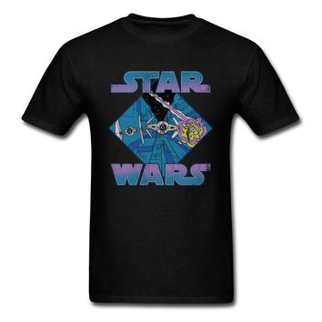 Tie Fighter Retro T-shirt Men Star Wars T Shirt 100% Cotton Clothing Vintage Comics Tops Hipster Tee Fitness Summer Tshirt