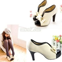 Woman Style Sexy Ladies High Heel Tie Platform Bow Pump Ankle Shoes Boots Beige