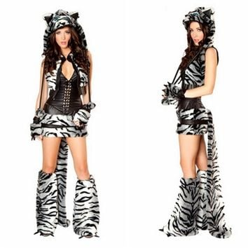 new sexy Black and white leopard animalCostume shawl Tigers game cosplay clothing Party dress sexy  costumes HalloweenKawaii Pokemon go  AT_89_9