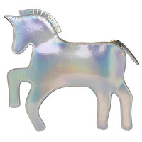 Silver Jumping Horse Shoulder Bag White