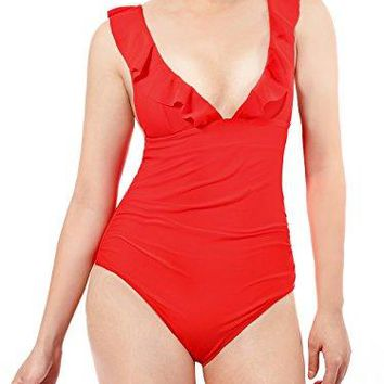Womens Ruffle Swimsuit TummyHide Onepiece with Cross Straps Tie Back Ruffle Trim Bathing Suit