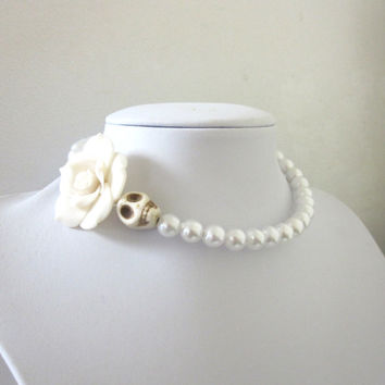 Sugar Skull Necklace All White Rose White Choker Day of the Dead Wedding