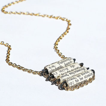 Paper Bead Jewelry French Dictionary Black & White Paper by Tanith