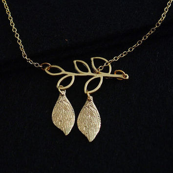 Branch with good luck leaf necklace gold for mom her, Personalized necklace , 18K gold over pure brass for mom, Personalized Gift for Women