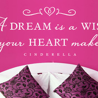 "Cinderella ""A dream is a wish your heart makes"" - Wall Vinyl Quote"
