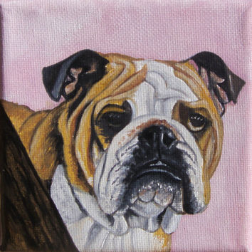 MINIATURE Dog painting, pet  portrait- Bulldog- 4x4i -Beige- White- Birthday gift-Christmas gift-Easel incl-Pet lovers-Free shipping