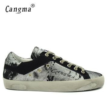 CANGMA Italian Designer Sneakers Men Shoes Silver Black Casual Shoes Man Genuine Leather Fashion Breathable Male Adult Footwear