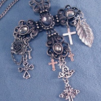 Large Cross Silver or Gold Necklace or Car Chimes Charms Shipping in US is Free