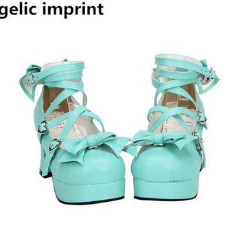 Angelic imprint new woman mori girl lolita cosplay shoes lady high heels pumps women princess dress party shoes 7.5cm 33-47 bows