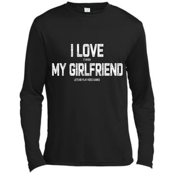 Mens I Love My Girlfriend Video Games Valentines Day  Long Sleeve Moisture Absorbing Shirt