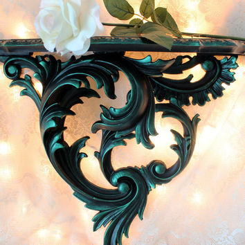 Large Wall Shelf - Black and Teal Shelf - Gothic Wall Shelf - Ornate Vintage Shelf - Syroco Wall Shelf - Victorian Wall Shelf