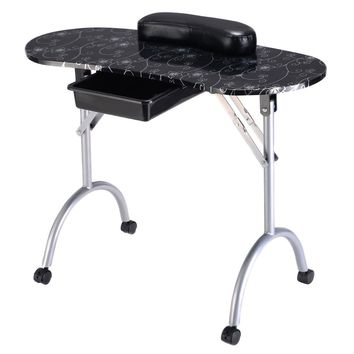 Giantex Portable Manicure Nail Table Station Desk Spa Beauty Salon Equipment (Black+Silver Flowers)