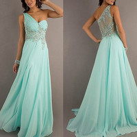2013 Mint Green Beaded Appliqued Chiffon Formal by Perfectdresses