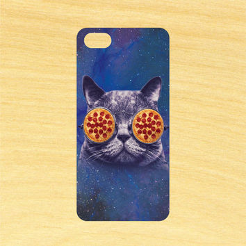 Pizza Sunglasses Cat in Space iPhone 4/4S 5/5C 6/6+ and Samsung Galaxy S3/S4/S5 Phone Case