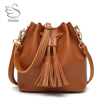 Drawstring Handbags Candy Color Soft Bucket Leather Shoulder Bags