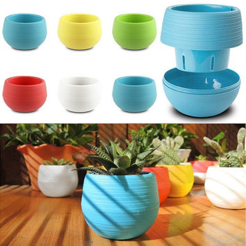 Mini Colourful 1pcs 7*6.5CM Planter Plastic Plant Flower Pots Garden Supplies Free Shipping