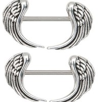 "Amazon.com: Body Accentz® Nipple Ring Angel Wings bar body Jewelry sold as Pair 14g 1/2"": Jewelry"