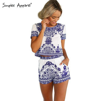 Simplee Apparel 2016 summer Blue Porcelain two piece jumpsuit Women romper short sleeve crop top shorts playsuit overalls