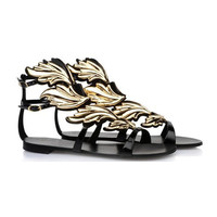 Metal Leaves Gladiator Sandals