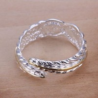 Duman Plated Ring Nickel Free Fashion Jewelry Two Tones Feather Adjustable Ring