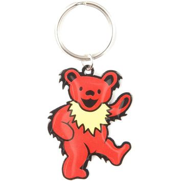 Grateful Dead Red Bear Plastic Key Chain Red