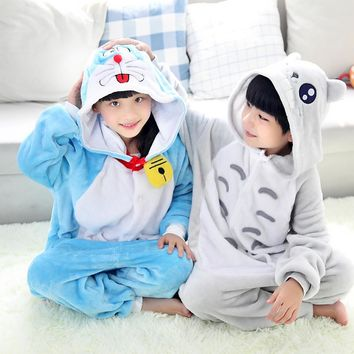 Novelty Children Animal Doraemon Cat Totoro Winter Outwear Kids Sleepwear Pajamas Onesuit Girls Boys Cosplay Carnival Costumes