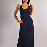 Dark Blue Maxi Dress Cotton,Sleeveless dress,Summer Party Dress with Lace.
