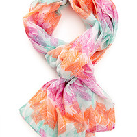 FOREVER 21 Feather Print Scarf Cream/Mint One